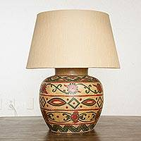 Ceramic table lamp, 'Night in Chihuahua' - Handmade Ceramic Table Lamp