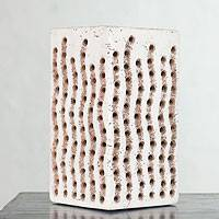 Ceramic accent lamp, 'Woven Light' - Handmade Ceramic Accent Lamp from Mexico