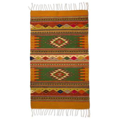 Zapotec wool rug, 'Golden Meadows' (2x3.5) - Authentic Zapotec Wool Accent Rug (2x3)