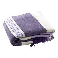 Zapotec cotton bedspread, 'Lavender Warmth' (twin) - Hand-woven Cotton Zapotec Bedspread (Twin)