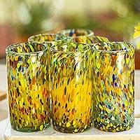 Blown glass tumblers, 'Lime Rainbow Raindrops' (set of 6)