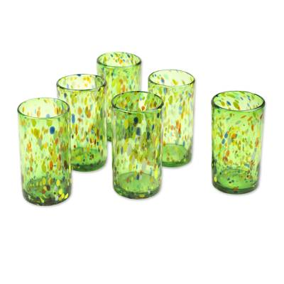 Blown glass tumblers, 'Lime Rainbow Raindrops' (set of 6) - Hand Crafted Blown Glass Tumblers (set of 6)