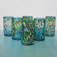 Blown glass tumblers, 'Bold Sky Fiesta' (set of 6) - Hand Crafted Blown Glass Tumblers (set of 6)