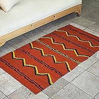 Zapotec wool rug, 'Pattern in Black' (2.5x5) - Zapotec Wool Area Rug