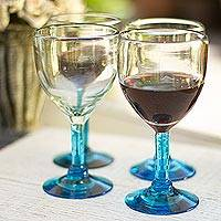 Blown glass goblets Caribbean Mirage set of 4 Mexico