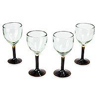 Blown glass goblets, 'Amber Mirage' (set of 4) - Hand Made Blown Glass Water Glasses (set of 4)