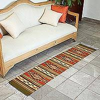 Zapotec wool runner, 'Autumn Leaves' (1.5x6) - Handwoven Geometric Runner Rug from Mexico