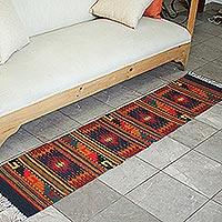 Zapotec wool rug Red Diamond Splendor 1.5x6 Mexico