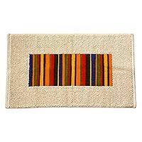Wool rug, 'Joyous Color' (2.5x4) - Colorful Striped Wool Accent Rug