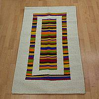 Wool rug, 'Rainbow Rectangle' (2.5x4) - Colorful Striped Wool Accent Rug