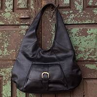 Leather hobo handbag, 'Capitalina' - Mexican Black Leather Hobo Handbag