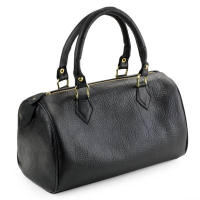 Leather baguette handbag, 'Guadalajara' - Mexican Black Leather Baguette Handbag