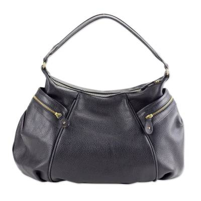 Leather baguette handbag, 'Guanajuato' - Mexican Black Leather Baguette Handbag