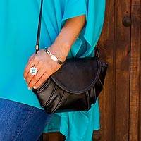 Leather shoulder bag, 'Convergence' - Black Leather Shoulder Bag or Clutch with Magnetic Closure a