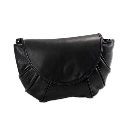 Leather shoulder bag, 'Convergence' - Black Leather Shoulder Bag or Clutch with Magnetic Closure a
