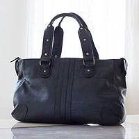 Leather tote handbag, 'Monterrey' - Black Leather Mexican Tote Handbag