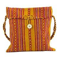 Wool flap bag, 'Zapotec Fire' - Mexican Zapotec Wool Shoulder Bag