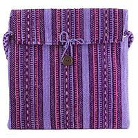 Wool flap bag, 'Zapotec Magenta' - Pink and Purple Handwoven Mexican Shoulder Bag