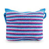 Wool shoulder bag, 'Clear Zapotec Skies' - Blue and Orchid Zapotec Wool Shoulder Bag