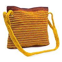 Wool shoulder bag, 'Zapotec Sun' - Yellow and Brown Zapotec Wool Shoulder Bag