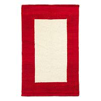 Wool rug, 'Crimson Window' (2.5x4) - Red Border Modern White Wool Accent Rug