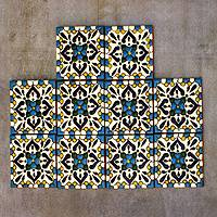Ceramic tiles, 'Turquoise Talavera' (set of 10) - Hand Painted Mexican Ceramic Tiles (set of 10)