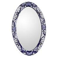 Painted ceramic mirror, 'Cobalt Fantasy' - Hand-painted Ceramic Mirror Frame