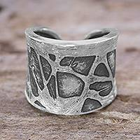 Sterling silver band ring, 'Pollock Inspiration' - Unique Sterling Silver Band Ring