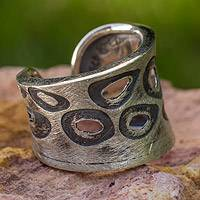 Sterling silver band ring, 'Miro Inspiration' - Surreal Sterling Silver Ring