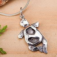 Sterling silver pendant necklace, 'Turtle in Motion' - Handcrafted Silver Turtle Necklace