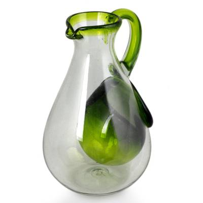 Blown glass pitcher with ice chamber, 'Fresh Lemon' - Hand Made Pitcher with Ice Chamber Blown Glass Art