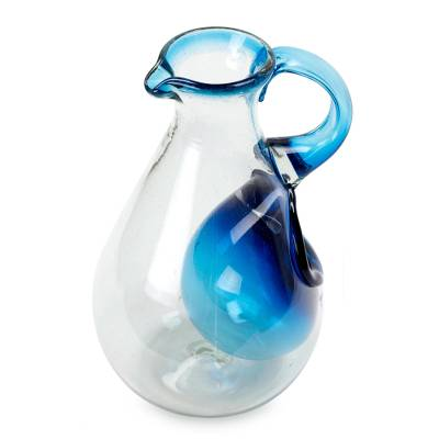 Blown glass pitcher with ice chamber, 'Fresh Caribbean' - Hand Made Blown Glass Pitcher with Ice Chamber