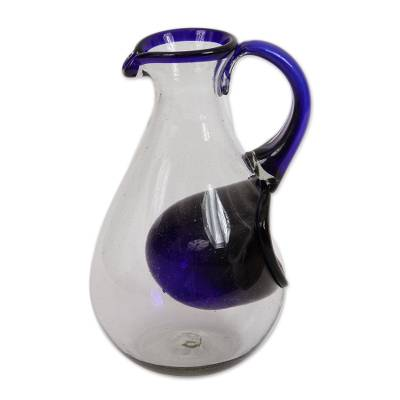 Blown glass pitcher with ice chamber, 'Fresh Ocean' - Hand Made Pitcher with Ice Chamber Blown Glass Art
