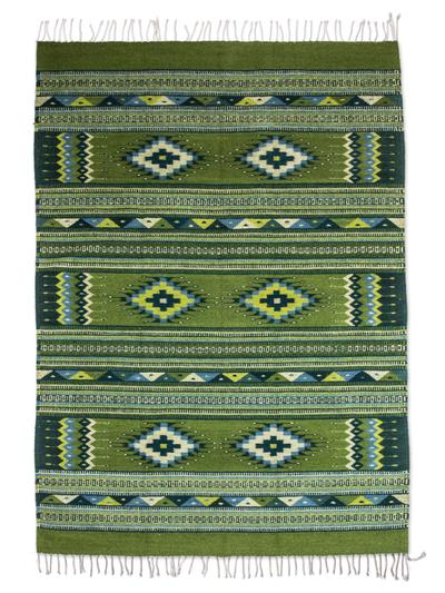 Handwoven Green Wool Zapotec Rug 4x6 5 Emerald Sky