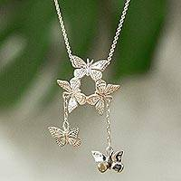 Sterling silver pendant necklace, 'Monarch Migration' - Butterfly Taxco Silver Statement Necklace