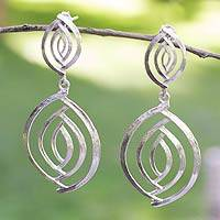 Sterling silver dangle earrings, 'Ancient Eyes' - Taxco Silver Jewelry Handcrafted Earrings