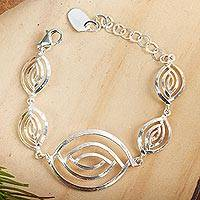 Sterling silver link bracelet, 'Ancient Eyes' - Handcrafted Bracelet from Taxco Silver Jewelry