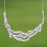 Sterling silver pendant necklace, 'Streams' - Taxco Sterling Silver Necklace