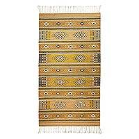 Zapotec wool rug, 'Dramatic Mexican Sun' (5x8) - Eco Friendly Handwoven Virgin Wool Zapotec Rug (5x8)