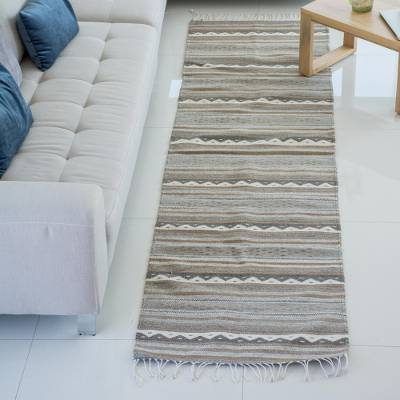 Zapotec wool runner, 'Sierra Plains' (2.6x10) - Hand Made Zapotec Gray Brown Wool Runner Rug (2.6x10)