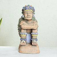 Ceramic sculpture, 'Pensive Tonatiuh' - Collectible Aztec Ceramic Sculpture Museum Replica