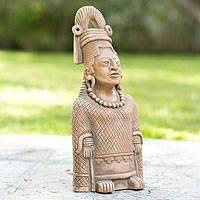 Ceramic sculpture, 'Maya Lady of Weaves' - Collectible Maya Ceramic Sculpture Museum Replica