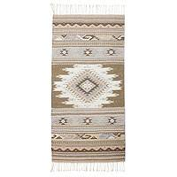 Zapotec wool rug, 'Cinnamon Stars' (2.5x5) - Handwoven Zapotec Accent Rug in Earth Tones
