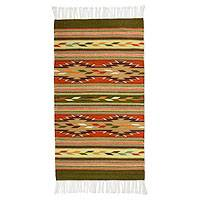 Zapotec wool rug, 'Feathers of the Earth' (2.5x5) - Mexican Zapotec Wool Accent Rug (2.5x5)