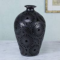 Decorative ceramic vase, 'Black Sunflower' - Mexican Black Pottery Vase with Cutout Motifs