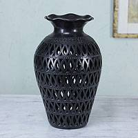 Decorative ceramic vase, 'Magic Leaves' - Cutout Black Pottery Vase from Mexico