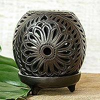 Ceramic tealight holder, 'Black Flower Fest' - Hand Made Mexican Black Pottery Candleholder