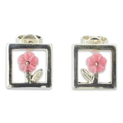 Pink Floral Sterling Silver Earrings from Mexico