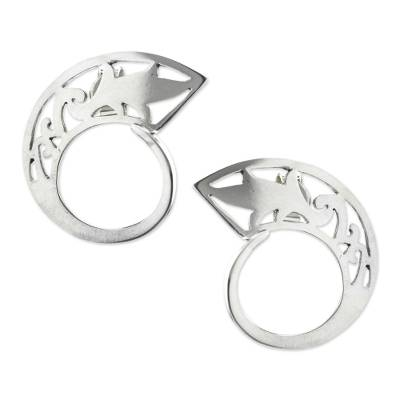 Handcrafted Signed Sterling Silver Earrings