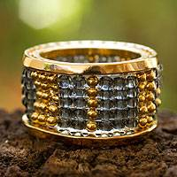 Gold plated band ring, 'Aztec Mirage' - Handcrafted Gold Plated Beaded Band Ring